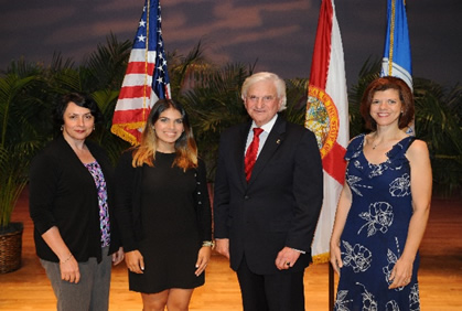 President Hanbury with Lubov Nathanson, Ph.D. (HPD-OST), Paula Waziry, Ph.D. (HPD-OST), and Tiffany Cabrera (FAR)