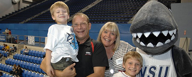 Family with Razor the Mascot