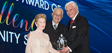 Dr. George Hanbury, President of NSU, with Dr. Stanley and Pearl Goodman