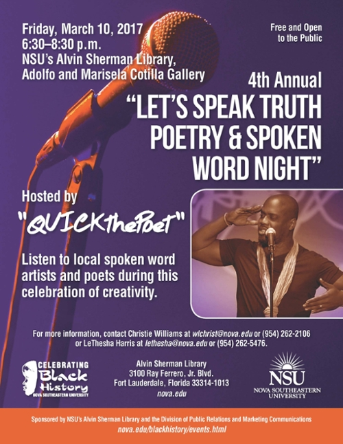 "The 4th Annual ""Let's Speak Truth,"" Poetry & Spoken Word Night"