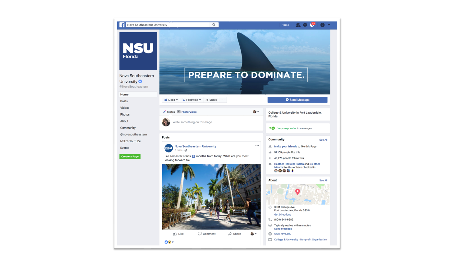 NSU Florida Facebook page