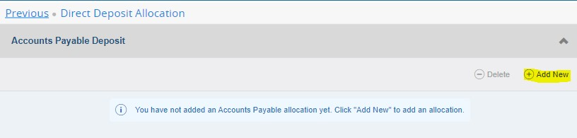 accounts payable deposit section