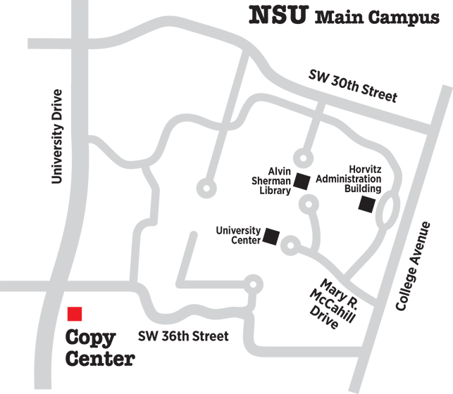 Map of NSU Copy Centers on Main Campus