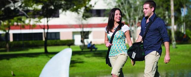 Students walking around main campus in Ft. Lauderdale, Florida