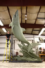 Shark statue being completed
