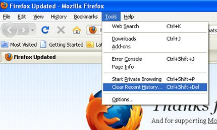 FireFox Tools menu with Clear Recent History selection