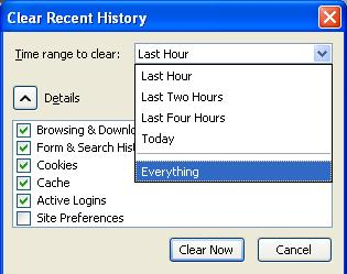 Clear Recent History Time range to clear screen