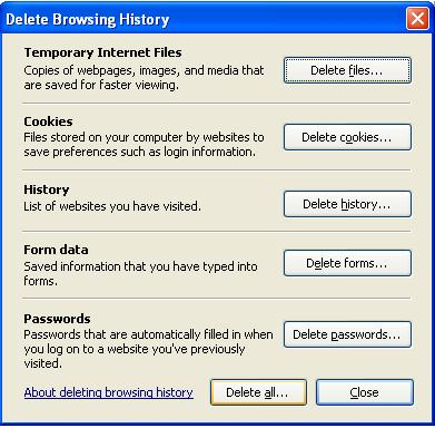 Delete Browsing History screen in IE