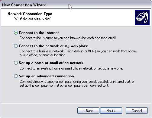 Windows New Network Connection Wizard screen