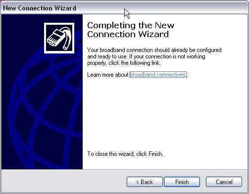 Finish screen for New Connection Wizard