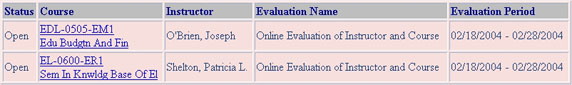 Screenshot of Course Evaluation listing