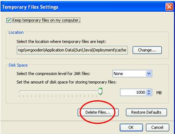 Delete Files button in Temporary Files Settings Screen