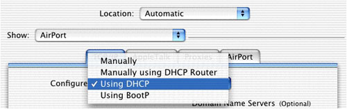 Mac OS X Using DHCP selection screen