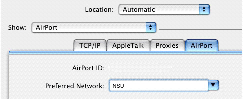 Mac OS X Preferred Network screen