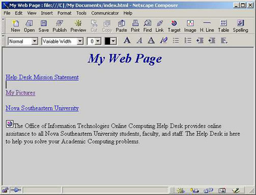 Netscape 4.7 background color example