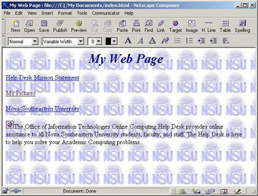 Netscape 4.7 Compose Window with background image example