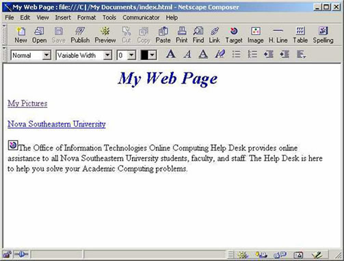 Netscape 4.7 Composer Bookmark Example
