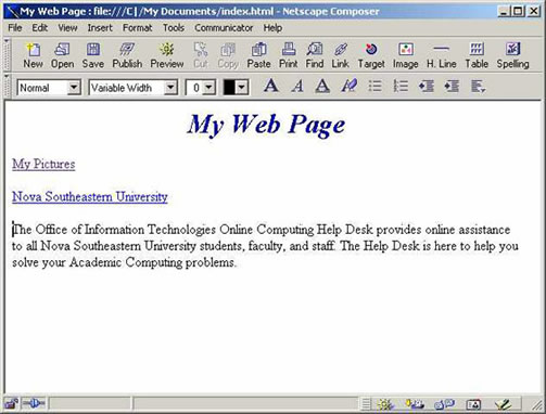 Netscape 4.7 Window with Anchor Text location