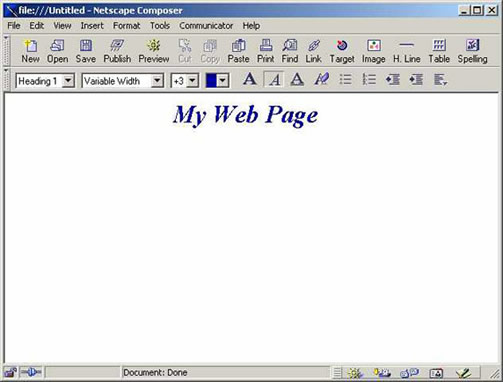 Netscape 4.7 Composer screen with heading