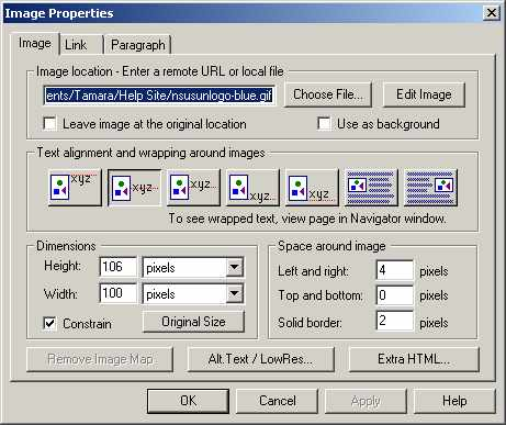 Netscape 4.7 Image Properties file selected example