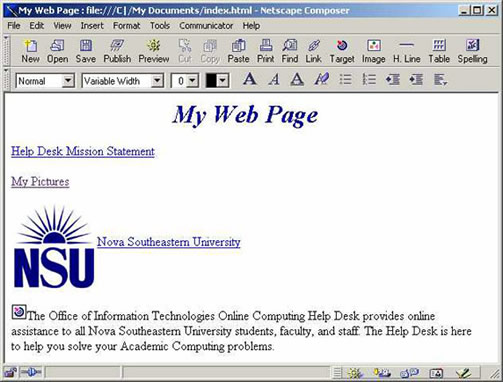 Netscape 4.7 Composer window with image example