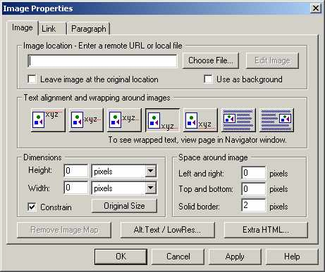 Netscape Image Properties window