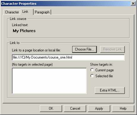 Netscape 4.7 Link to page properties window