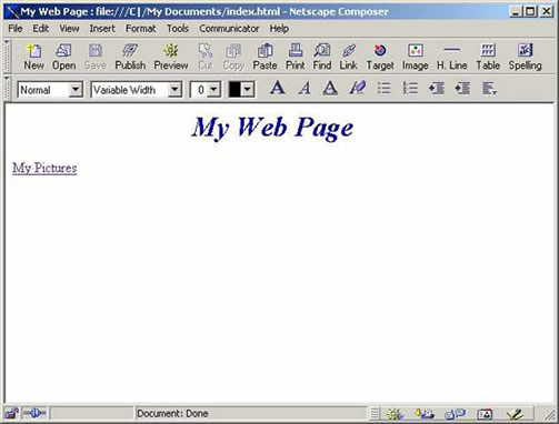 Netscape 4.7 page with Link
