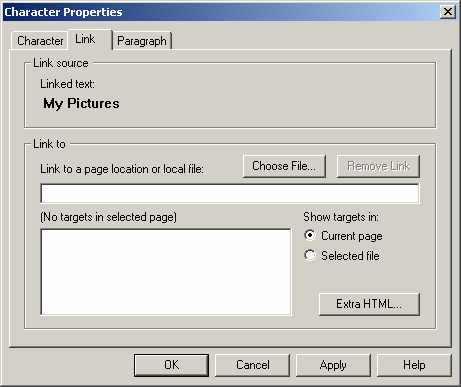 Netscape 4.7 Composer Link Properties Window