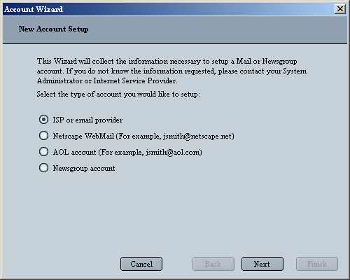 Netscape 6 Email for Windows New Account Setup screen