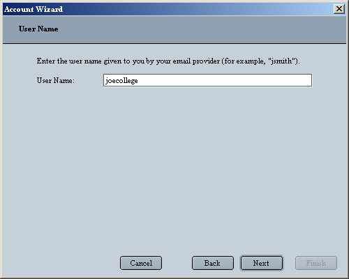 Netscape 6 Email for Windows User Name Screen