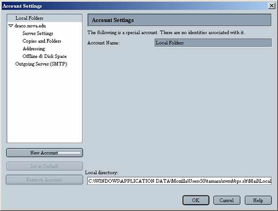 Netscape 6 POP Email Account Settings screen