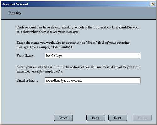 Netscape 6 POP Account Wizard Identity Screen