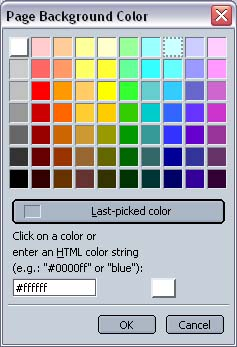 Netscape 7 Page Background Color Picker window