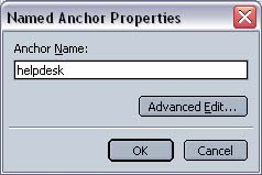 Netscape 7 Composer Anchor Properties screen with example anchor name