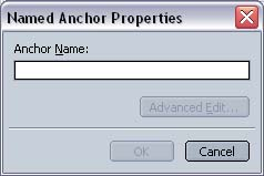 Netscape 7 Composer Anchor Properties screen