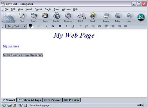 Netscape 7 Composer External Link Text example