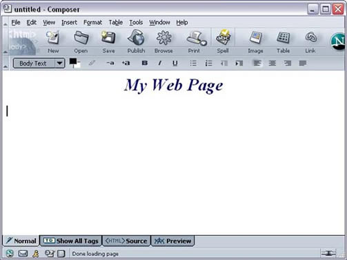 Netscape 7 composer window with heading example
