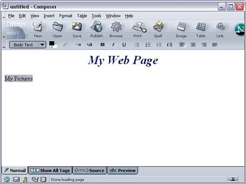 Netscape 7 window with highlighted link text example