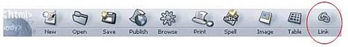 Netscape Composer Link Icon on Toolbar