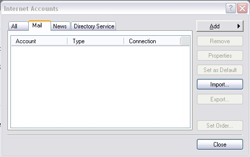 Outlook 2000 Internet Accounts screen