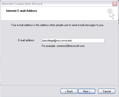 Outlook 2000 Internet Email Address screen