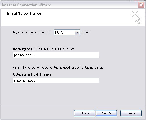 Outlook 2000 E-mail Server Names screen
