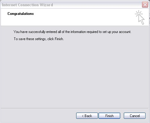 Outlook 2000 Internet Connection Wizard Finish screen