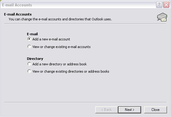 Outlook 2002 Email Accounts screen