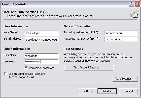 Outlook 2002 Internet Email Settings screen