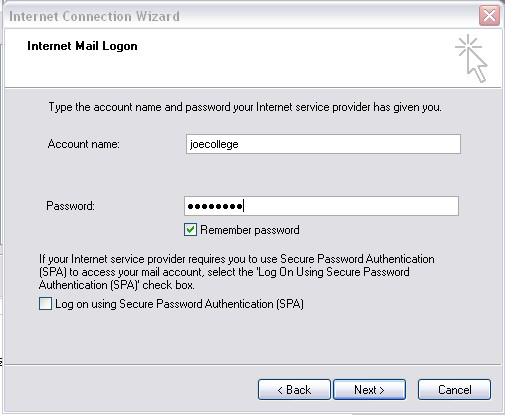Outlook Express 6 Internet Mail Logon screen