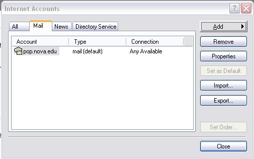 Outlook Express 6 Internet Accounts screen