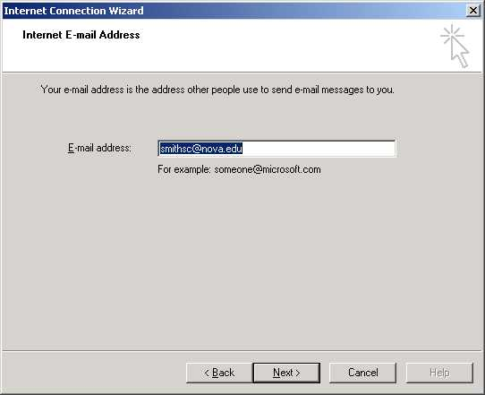 Outlook Internet E-mail Address screen