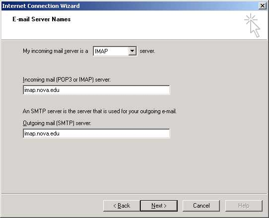 Outlook Internet Connection Wizard E-mail Server Names screen